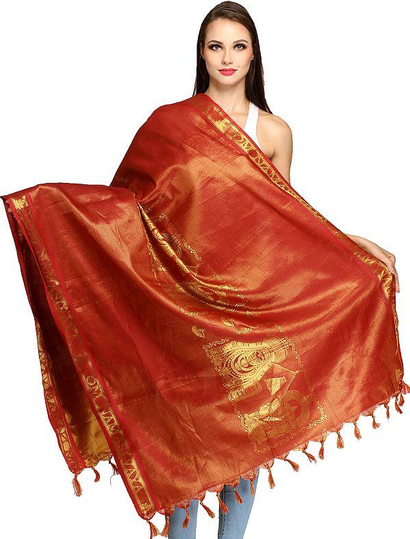 Garnet-Rose Goddess Parvati and Shiva Brocaded Prayer Shawl from Tamil Nadu
