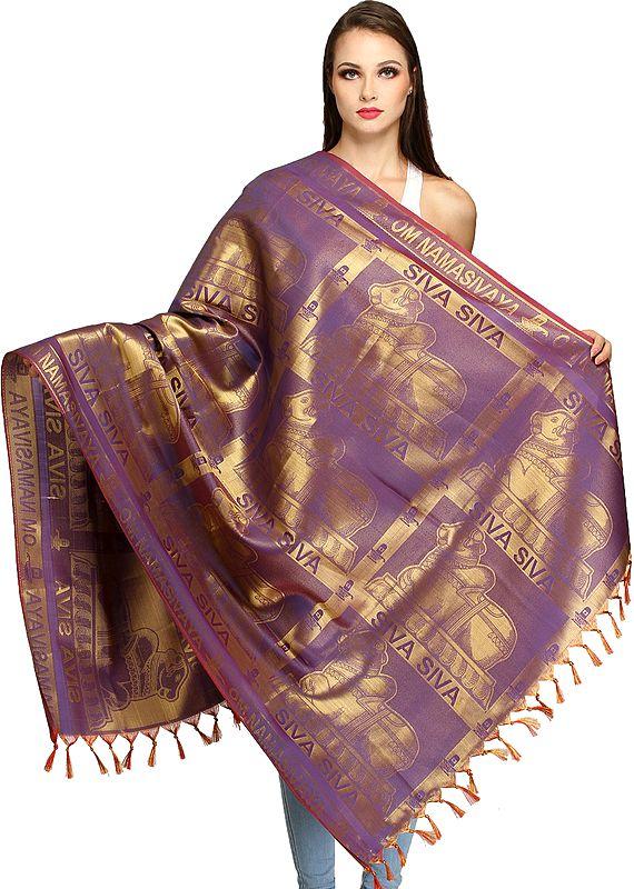 Purple Shiva's Nandi Brocaded Prayer Shawl from Tamil Nadu