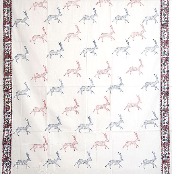 Bright-White Curtain with Printed Deers