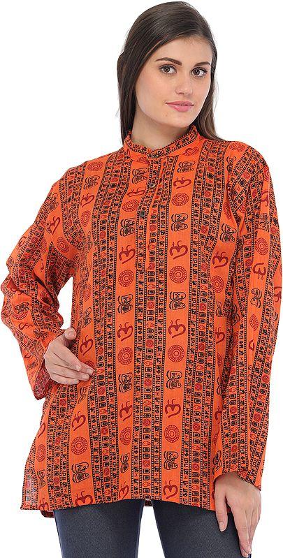 Sanatan Dharma Kurti Top with Printed Religious Motifs