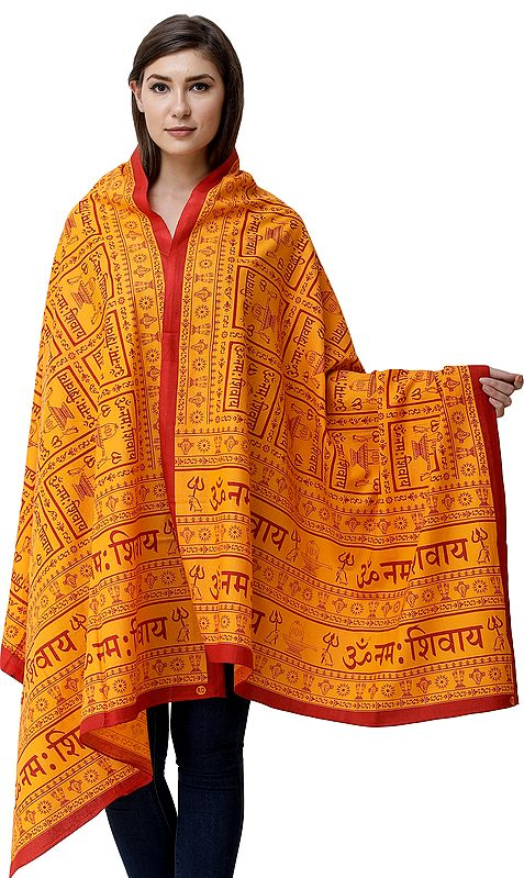 Om Namah Shivay Prayer Shawl with Printed Shiv-Ling and Holy Trident