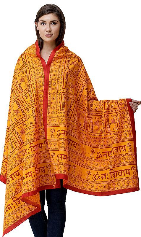 Om Namah Shivay Prayer Shawl with Printed Shiv-Ling and Holy Trident