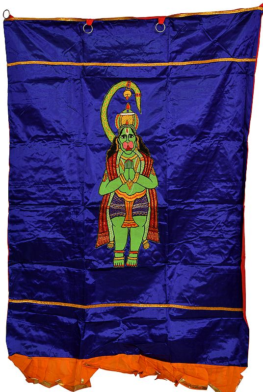 Royal-Blue Auspicious Temple Curtain with Embroidered Lord Hanuman in Applique