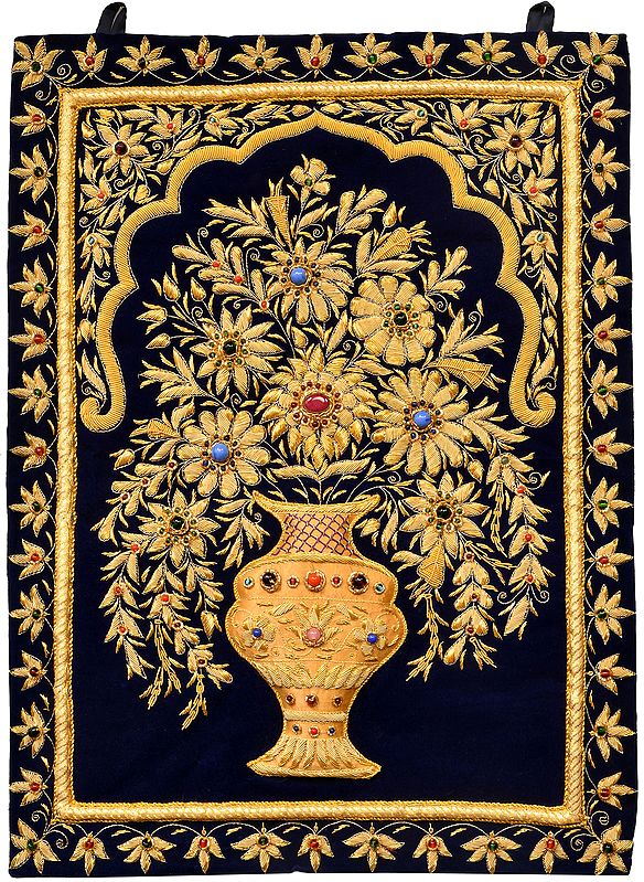 Handcrafted Royal Wall Hanging with Intricate Zardozi Hand-Embroidered Flower Pot and Faux Gemstone