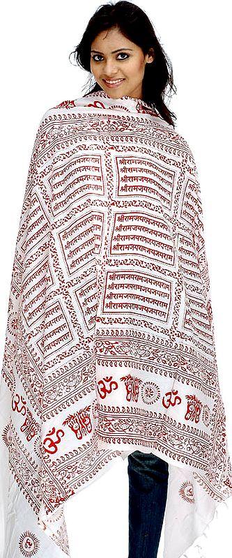 Star-White Hindu Prayer Shawl with Printed Sri Ram Jai Ram Jai Jai Ram Mantra