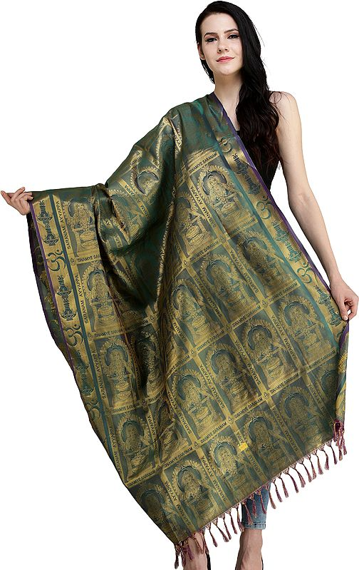 Evergreen Lord Ayyappan South Indian Brocaded Prayer Shawl from Tamil Nadu