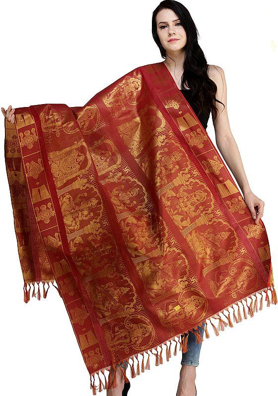 Rococco-Red Brocaded Prayer Shawl from Tamil Nadu with Lakshmi Ganesha Saraswati Kartikkeya and Venkateshvara