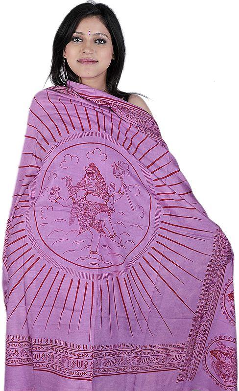 Violet-Tulle Hindu Prayer Shawl of Dancing Shiva
