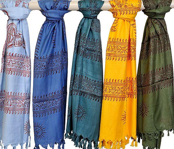 Lot of Five Sanatan Dharma Prayer Scarves