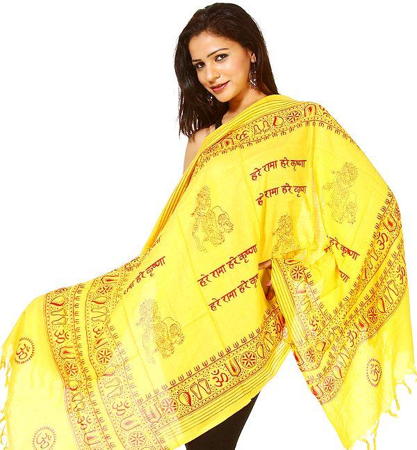 Yellow Printed Hare Ram Hare Krishna Prayer Scarf