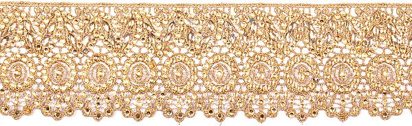 Pale-Gold Floral Crochet Border with Cut-work and Crystals