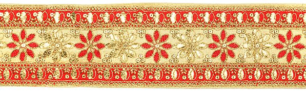 Floral Embroidered Fabric Border with Sequins