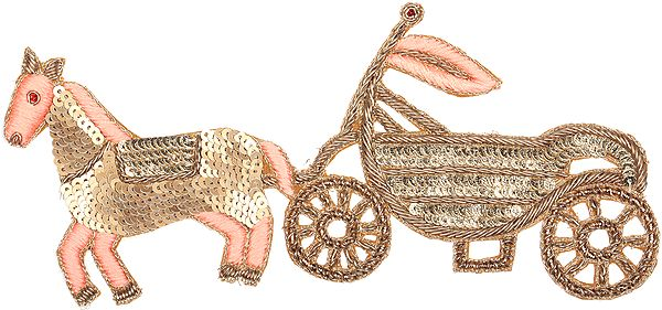 Zardosi Horse Cart Patch with Embellished Sequins