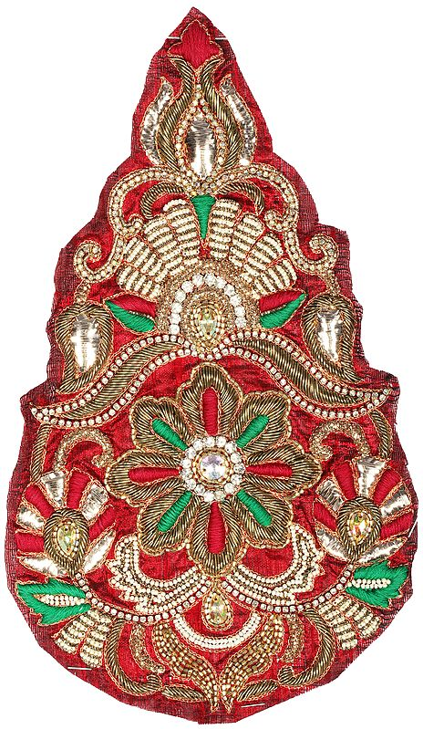 Deep-Wine Tear Drop Floral Embroidered Patch with Crystals and Beads