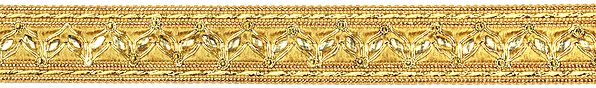 Pale-Gold Fabric Border with Embroidered Paisleys and Crystals