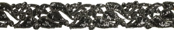Caviar-Black Floral Fabric Border with Embellished Sequins and Cut-work