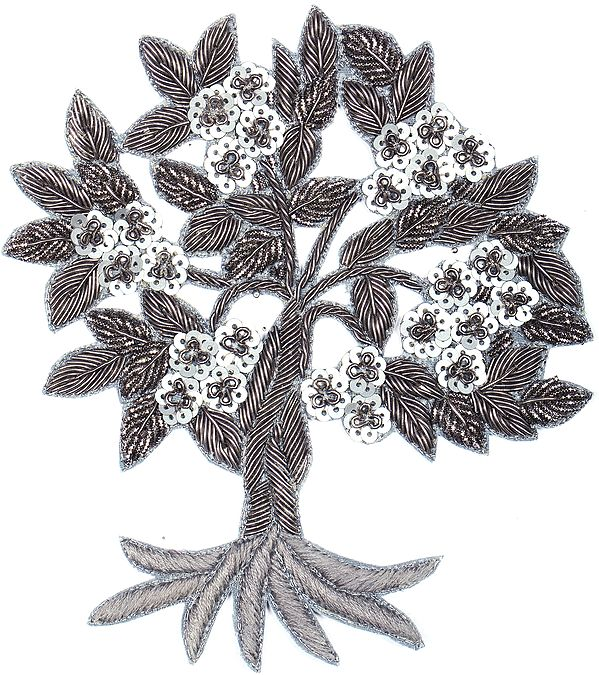 Wild-Dove Designer Tree Patch with Embroidery and Sequins