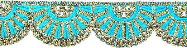 Zari-Embroidered Semi-Circle Fabric Border with Crystals