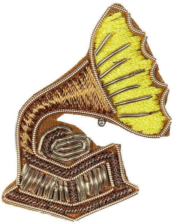 Zari-Embroidered Gramophone Patch