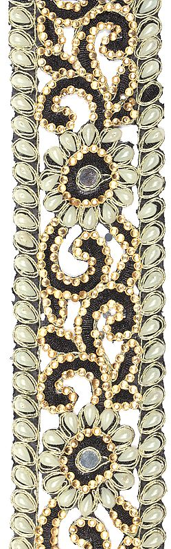 Caviar-Black Floral Fabric Border with Embellished Crystals and Pearls
