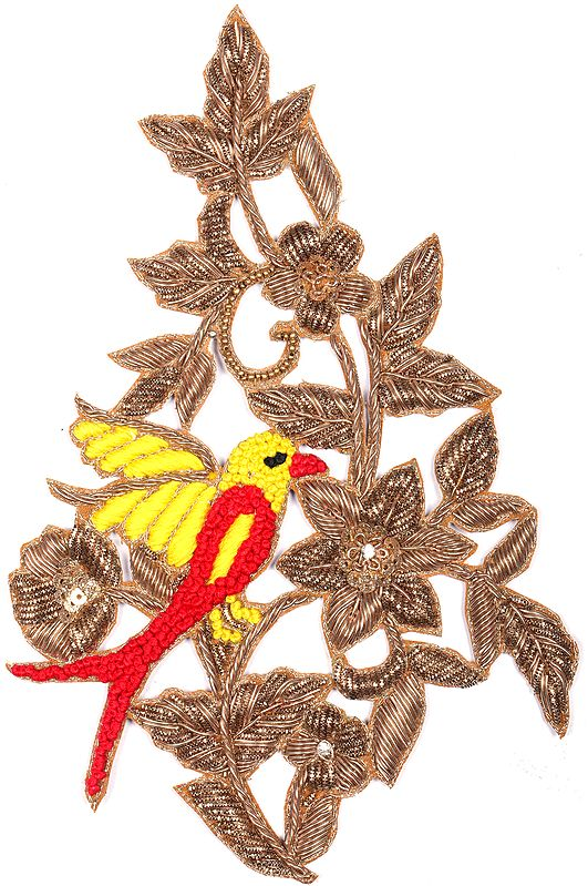 Crystals and Sequins Embroidered Flower Branch Zardosi Patch with Sparrow