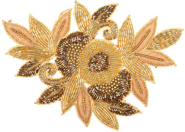Pale-Gold Embroidered Floral Patch with Embellished Beads