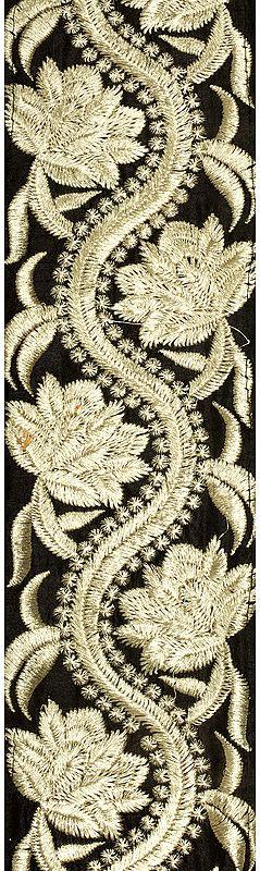 Caviar-Black Zari-Embroidered Flower Vine Fabric Border