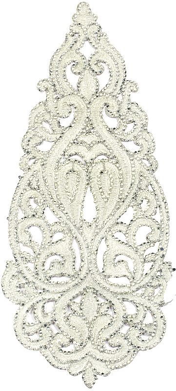 Silver Tear-Drop Zari-Embroidered Floral Patch with Crystals
