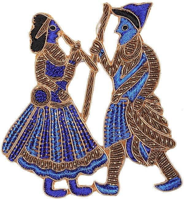 Zardosi Dancing Village Folks Patch with Cut-Work