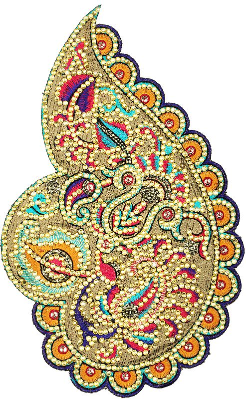 Designer Paisley Patch with Embroidery and Crystals
