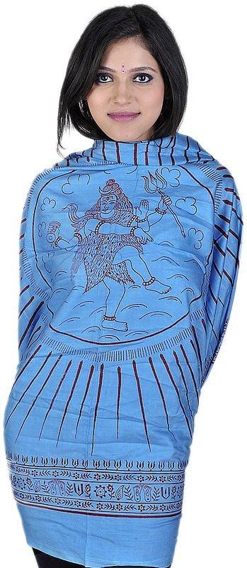 Light-Blue Hindu Prayer Shawl of Dancing Shiva