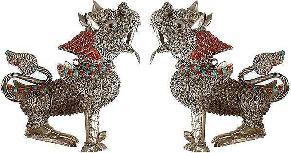 Tibetan Buddhist Pair of Temple Lions