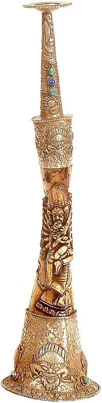Tibetan Buddhist Trumpet (dung) with Yab Yum Image