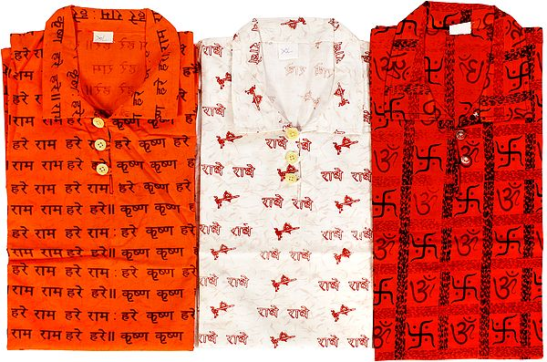 Lot of Three Kurti Tops with Printed Religious Motifs