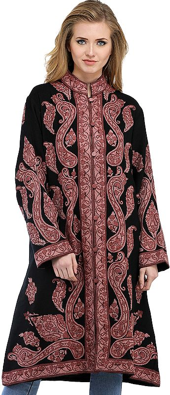 Black and Woodrose Long Kashmiri Jacket with Ari Hand-Embroidered Paisleys