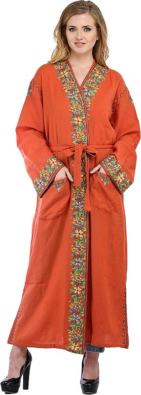 Dusty-Orange Kashmiri Robe with Ari Floral-Embroidery by Hand
