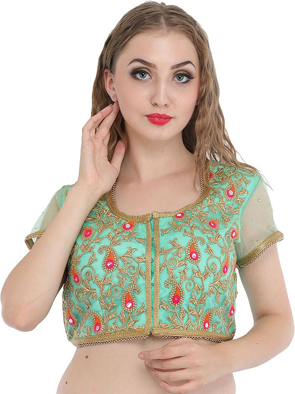Spring Bud Wedding Padded Choli from Jodhpur with Golden-Embroidery and Sequins