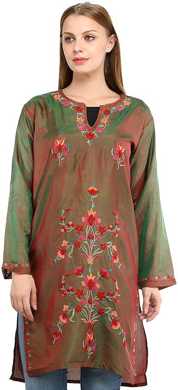 Shady-Glade Long Kurti from Kashmir with Ari Embroidered Flowers By Hand