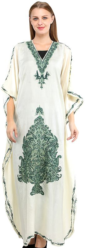 Oyester-White Kaftan from Kashmir with Ari Hand-Embroidered Flowers and Paiselys