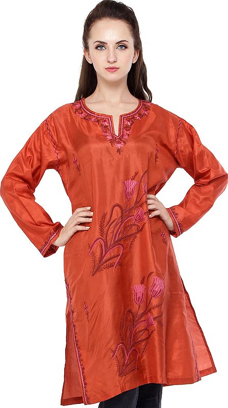 Red-Clay Long Kurti from Kashmir with Ari Embroidered Flowers By Hand