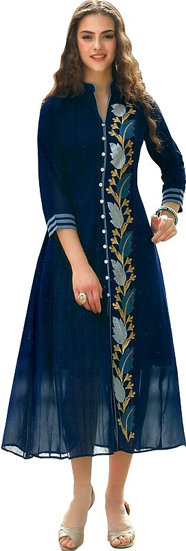 Mood-Indigo Long Kurti with Ari-Embroidered Florals and Silver Buttons