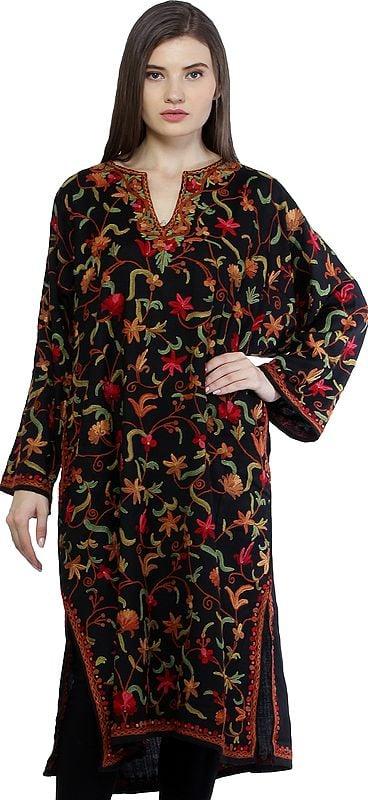 Caviar-Black Kashmiri Phiran with Ari Floral-Embroidery by Hand