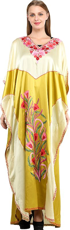 Misted-Yellow Double-Shaded Kaftan from Kashmir with Ari Embroidered Flowers