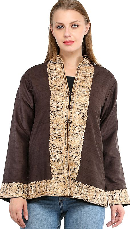 Coffee-Bean Kashmiri Jacket with Ari Hand-Embroidered Florals on Border