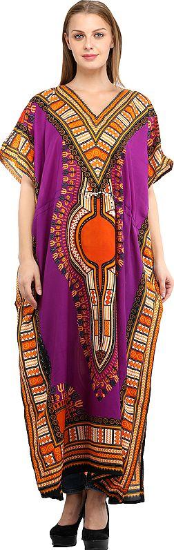 Long Printed Kaftan with Colorful African Print
