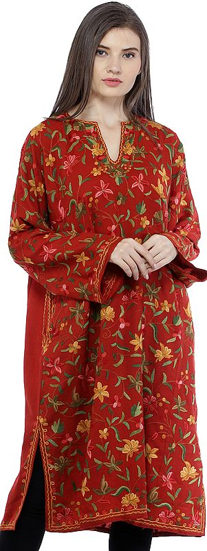 Mineral-Red Kashmiri Phiran with Ari Floral-Embroidery by Hand