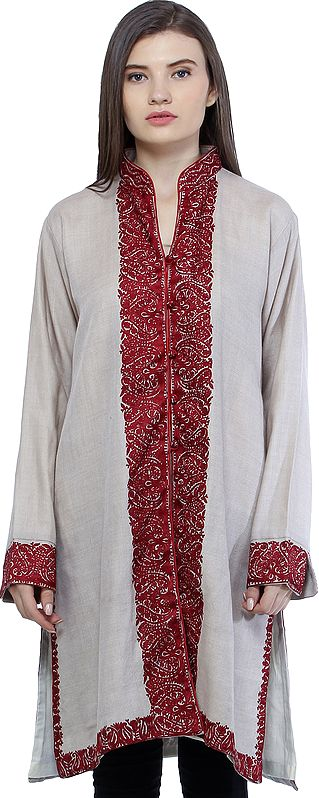 Wood-Ash Long Jacket from Kashmir with Ari Embroidered Paisleys on Border