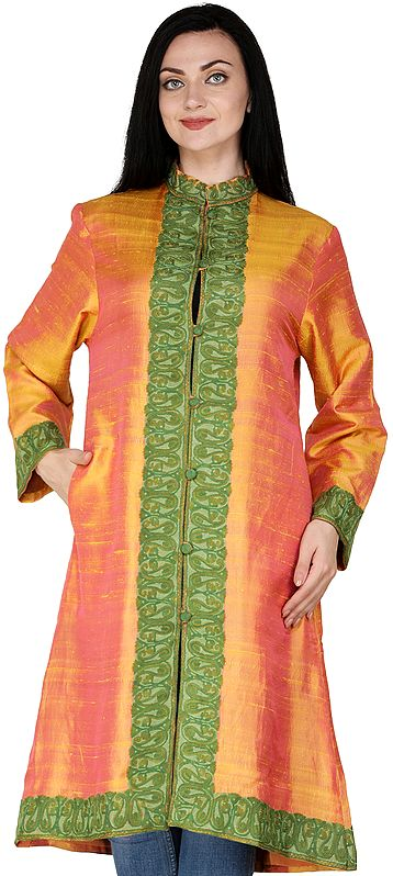Dark-Cheddar Long Jacket from Kashmir with Ari-Embroidered Paiselys in Green Thread