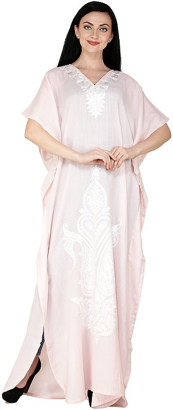 Melted-Rose Kaftan from Kashmir with Ari Embroidered White Flowers and Paisleys