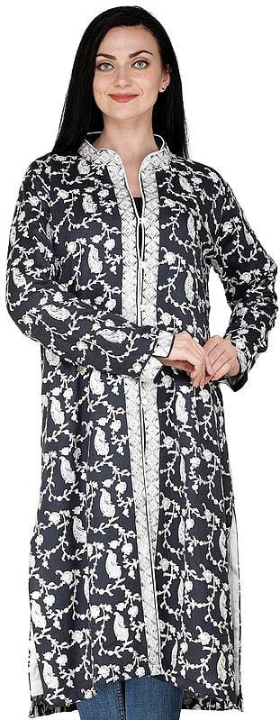 Nine-Iron Long Kashmiri Jacket with Ari Embroidered Paisleys and Florals